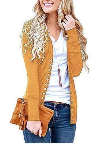 Women Solid Button Front Knitwears Long Sleeve Casual Cardigans Size Small S