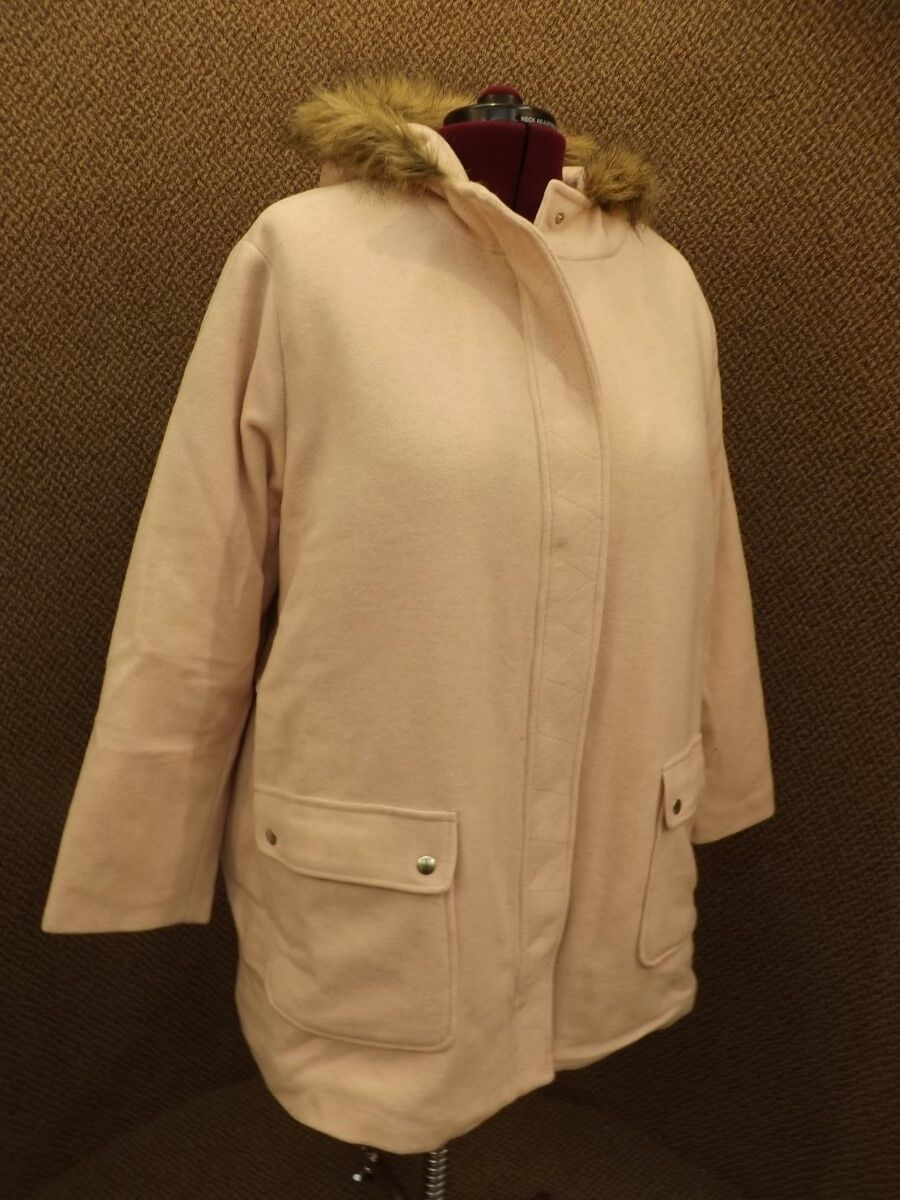 Woman Within NEW Pale Pink Quilt Lined Faux Fur Trim Hood Wool Coat 2X Parka