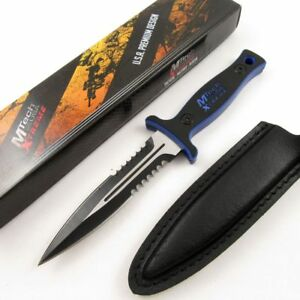 NEW-Mtech-9-034-Tactical-Self-Defense-Dagger-Knife-Serrated-Blue-Black-Handle