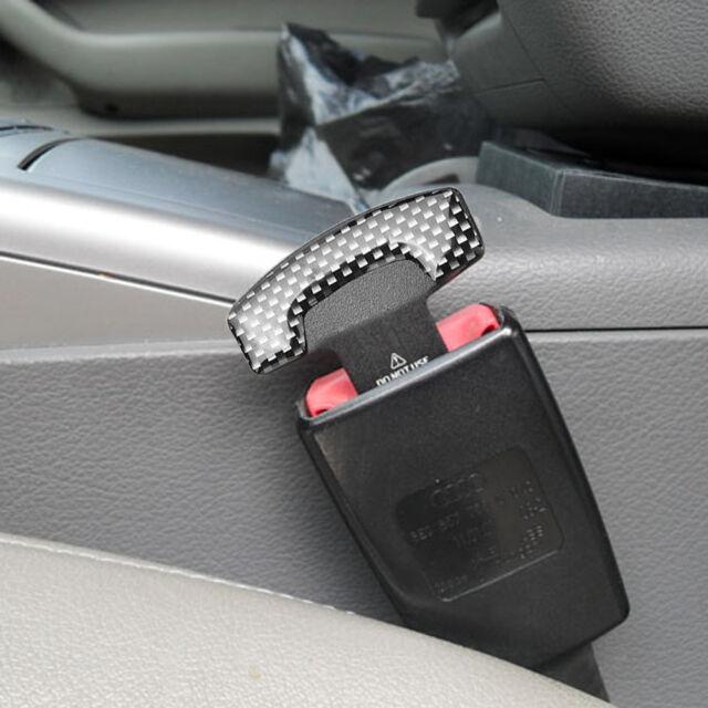 2x Car Carbon Fiber Safety Seat Belt Buckle Plug Alarm Insert Stopper Clip Clamp