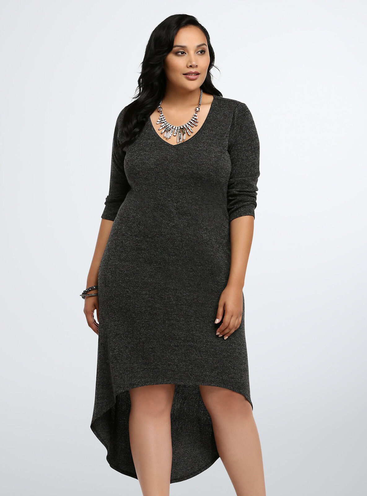 TORRID TORRID TORRID Womens (L (0)12) Knit Sweater Dress Stretch Cozy Heather Grey Hi-Lo RARE  5b4789