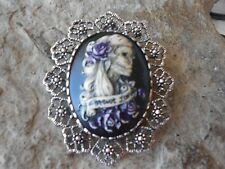 FOREVER LOVE SKELETON WOMAN (HAND PAINTED) - BROOCH / PIN / PENDANT - ZOMBIE, SP