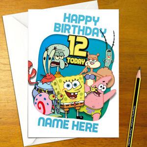 Details About SPONGEBOB SQUAREPANTS Personalised Birthday Card