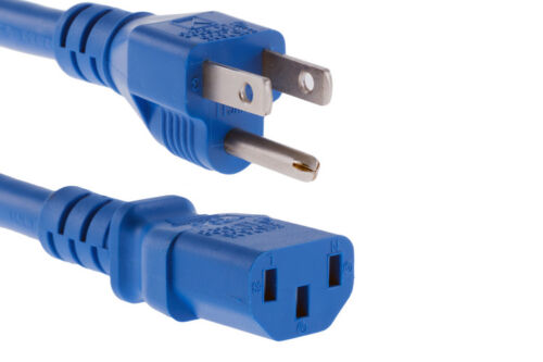 5-15p to C13 Blue 2ft Lifetime Warranty AC power cord 14 AWG