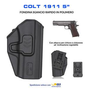Fondina-in-Polimero-per-Colt-1911-5-034-sgancio-rapido-cintura-polizia-militare