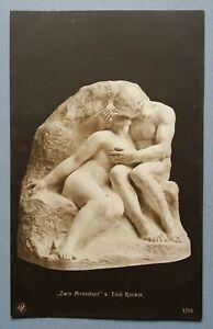 Old-Postcard-Sculpture-Plastic-Emil-Renker-Two-Menschen