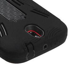 HTC One SV CRICKET - HARD & SOFT RUBBER HEAVY DUTY HYBRID CASE BLACK KICKSTAND