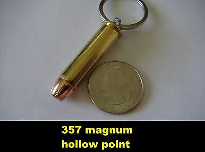 357 Magnum Inert Hollow Point Caliber Keychain Brass and Nickel Available