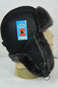 BLACK-100-Sheepskin-Shearling-Leather-Russian-Ushanka-Trapper-Trooper-Hat-M-3XL