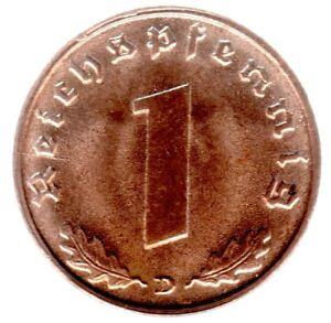 1 Reichspfennig 1939 D In Stempelglanz- Jäger Nr. 361