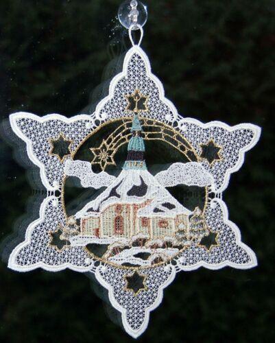 Plauener Spitze Fensterbild Weihnachten Spitzenbild Stickerei Seiffener Kirche