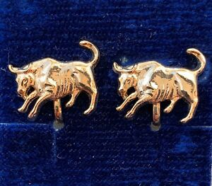 VINTAGE-TAURUS-EARRINGS-BULL-CLIP-BACK-GOLD-TONE-METAL-ASTROLOGY-JEWELRY-NOS