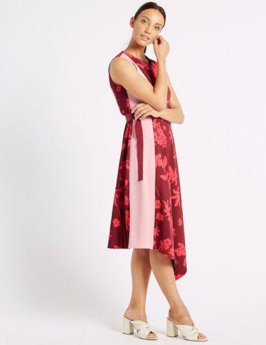 New M/&S Collection Floral Colour Block Wrap Midi Dress Sz UK 12 16 22 24