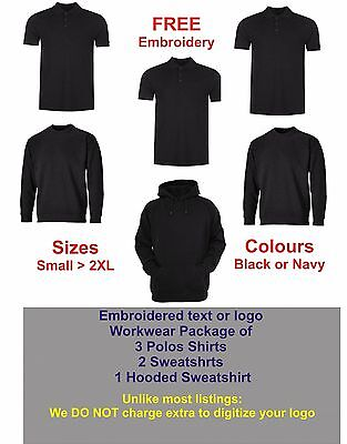 "Personalised Embroidered Workwear Package ""free"" Digitizing Of Your Logo"