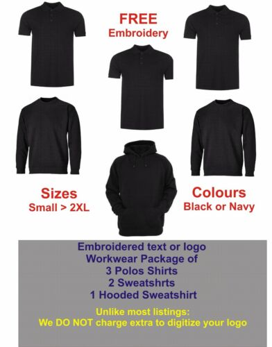 """PERSONALISED EMBROIDERED WORKWEAR PACKAGE  /""""FREE/"""" DIGITIZING OF YOUR LOGO"""