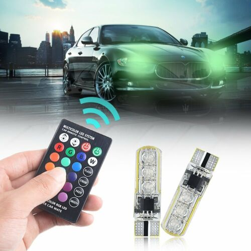 2 X T10 6 SMD 5050 RGB LED Car Wedge Side Light Reading Lamp Bulb Remote Control