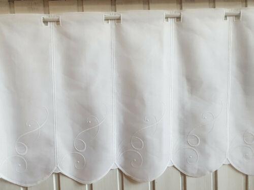 60 cm hoch Scheibengardine Landhaus Stick Leinenoptik weiß 30,45 o 26,44€//1qm