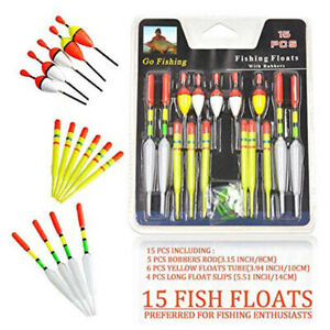 15-Pcs-Fishing-Assorted-Float-Set-Selection-Kit-Course-New
