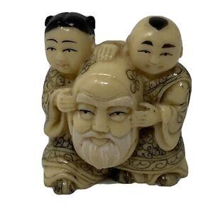 Netsuke-Japanese-Girl-Boy-Longevity-God-Mask-Carved-Resin-Signed-1-5-In