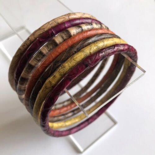 Lot de 7 bracelets neufs en peau de reptile python véritable