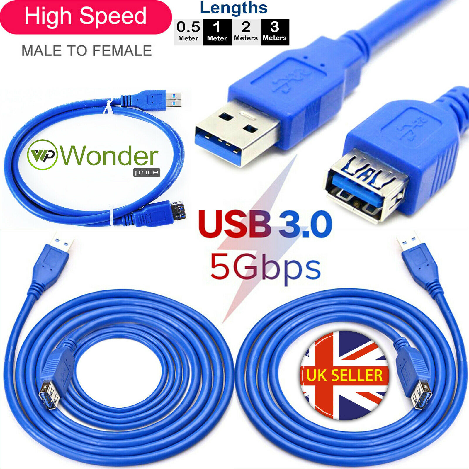USB 3.0 Standard A Male To Female Extension Cable Lead For PC Laptop Computer UK