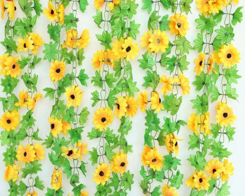 2 Size Long Silk Sunflower Flower Ivy Vine Leaf Garland Wedding Party Home Decor