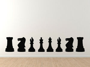 Chess Icon Champion - Back Row Set Solid Piece Silhouette - Vinyl Wall Decal