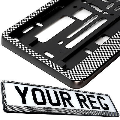 SUPER WHITE Car Number Plate Surround Holder FOR ANY CAR TRUCK VAN TRAILER CAR