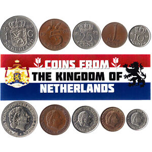 5-DUTCH-COINS-DIFFERENT-COINS-NETHERLANDS-FOREIGN-CURRENCY-VALUABLE-MONEY