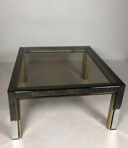 Table basse / bout de canapé en métal chromé et doré vintage 70'S