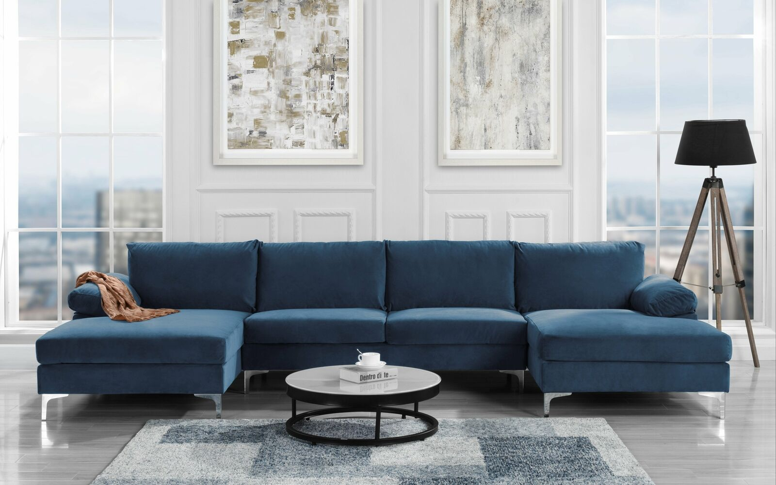 Modern Large Velvet U Shape Sectional Sofa Double Extra Wide Chaise Lounge,  Navy