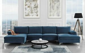 Awesome Details About Modern Large Velvet U Shape Sectional Sofa Double Extra Wide Chaise Lounge Navy Inzonedesignstudio Interior Chair Design Inzonedesignstudiocom