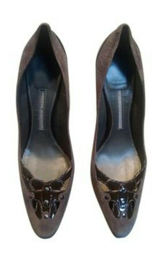 Proenza Schouler Brown Suede Pointed Toe Cut Out Studded Toe Pump Size 40 10 9.5