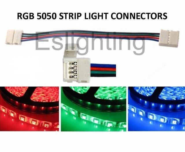 4X RGB 5050 LED STRIP LIGHT DOUBLE CONNECTOR 4 WIRE CONNECTION JOINT JOINER