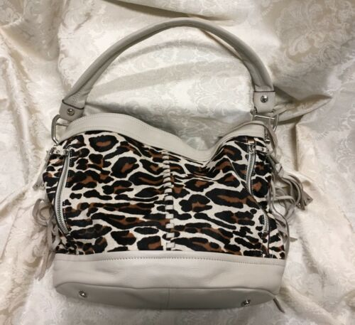 B Makowsky Fringe Cow Hair Leopard Print Leather H