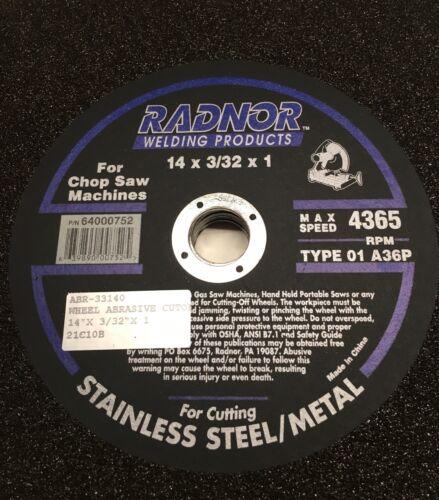 14 x 3//32 x 1 #64000752 NEW Type 01 A36P RADNOR Cut Off Wheel