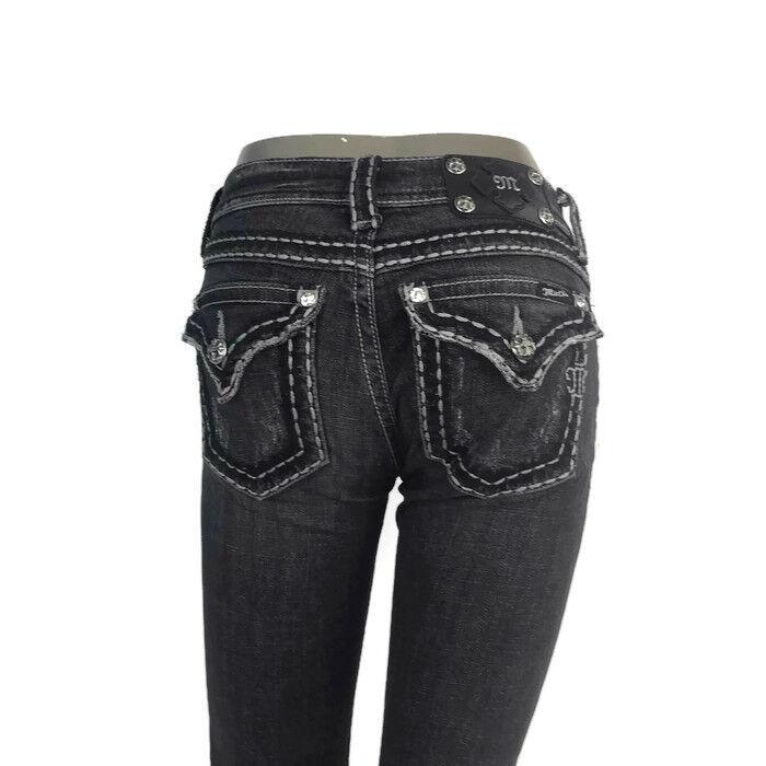 Miss Me Women's Premium Denim Jeans Dark Grey 01 Wash JP5014-2 Boot Cut Size 26