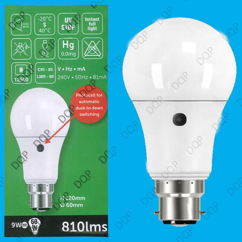 4x 9W (= 60W) LED GLS Anochecer Hasta El Amanecer Sensor Seguridad Bombilla BC B22 Lámpara Luz de noche
