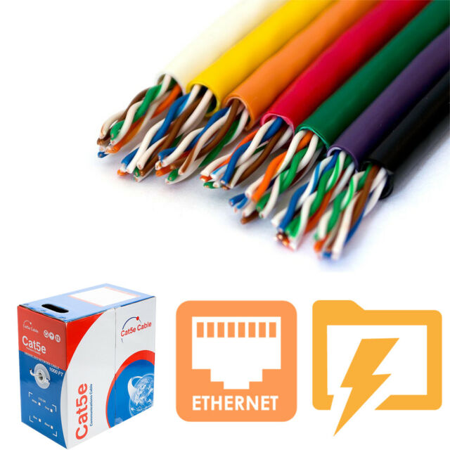 Cat5e Cat6 Cable Ethernet Wire White Black Blue Outdoor UTP FTP  Bulk 1000FT LOT
