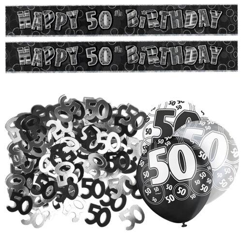 Black 50e Anniversaire Bannière Décoration Fête Pack set kit ballon paillettes Unisexe