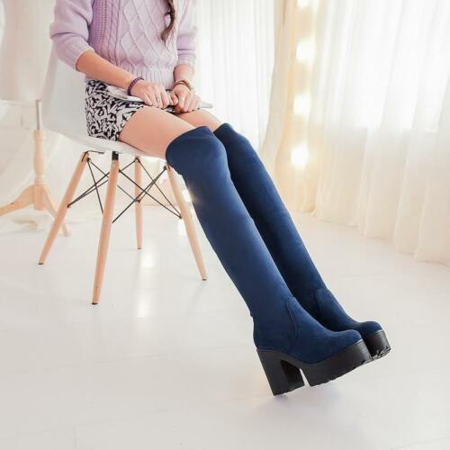 1 Womens pure color round toe block High Heels casual Over the Knee Boots