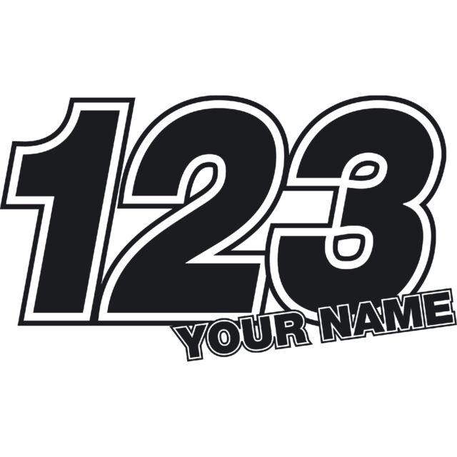 3 x Custom Race Numbers Name Stickers Vinyl Dirt Bike Motocross Trials Decals