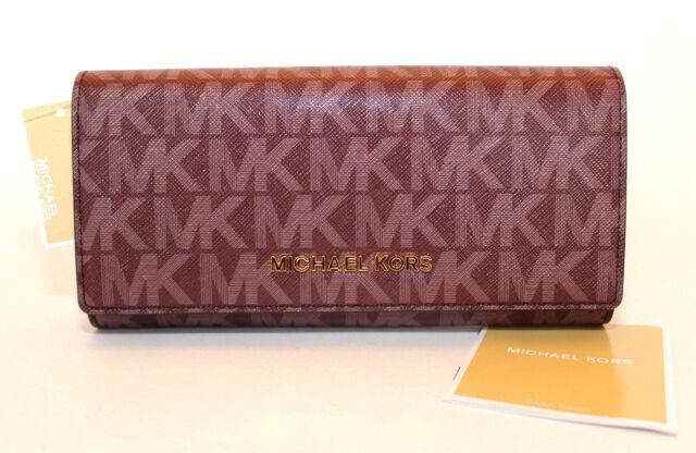 07b9cf2c503e Michael Kors Jet Set Travel Merlot Logo Carryall Wallet 35f7gve9v ...