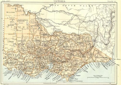 Britannica 9th edition 1898 old map showing counties Victoria AUSTRALIA