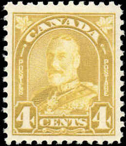 1930-Mint-H-Canada-VF-Scott-168-4c-VF-KGV-Arch-Leaf-Stamp
