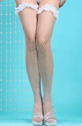 White Lace Stay Up Fishnet Stockings One Size Regular and Own Brand