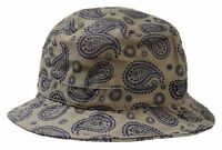 Unisex Kb Ethos Khaki Paisley Fashion Bucket Hat Cap 100% Cotton One Size