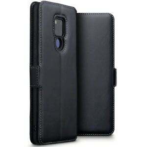 Huawei-Mate-20-X-Real-Leather-Wallet-Shockproof-Fitted-Case-Black-LKEY