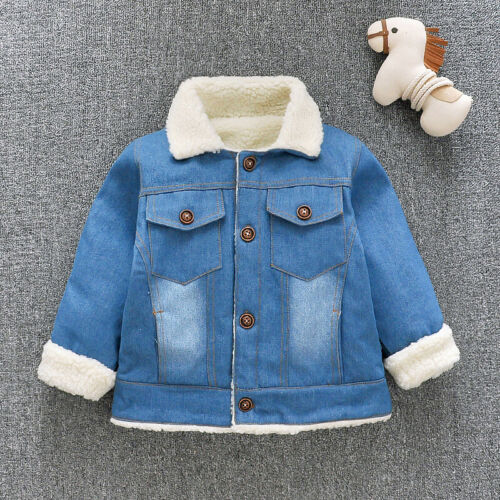 Infant Kids Boys Girls Tops Clothes Winter Warm Clothing Toddler Boy Denim Coat