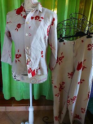 T2 Lin Bel Ensemble Boutique Fleurs Bordeaux Rouge Carmin Mitzouki Paris Femme Garanzia Al 100%